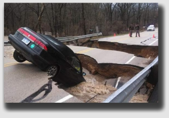 The bridge was washed out ...