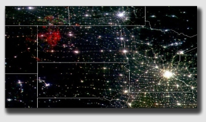 North Dakota - you can see the gas flares from outer space.