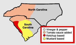 "The scene of the mishap - Orangeburg - is n the center of South Carolina ""mustard-based"" country."