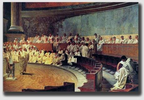 Cicero rails against Cataline in the Senate.