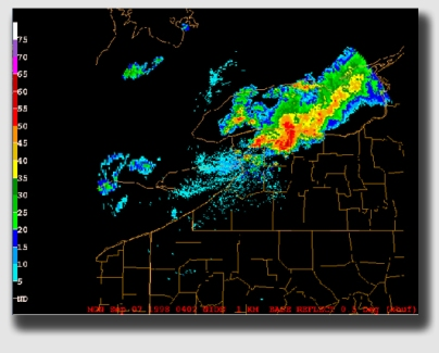 A radar plot of the Syracuse-Buffalo derecho of September 7, 1998.