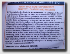 It seems like every ticket you buy has a waiver of liability printed on the back ... and who ever pays attention to them?