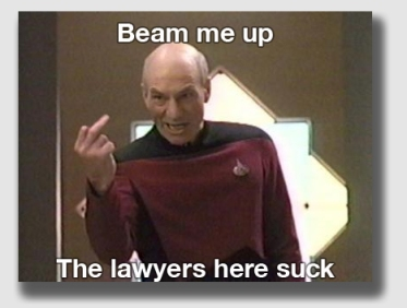 Capt. Picard may well have landed at the plaintiff's table in this case ...