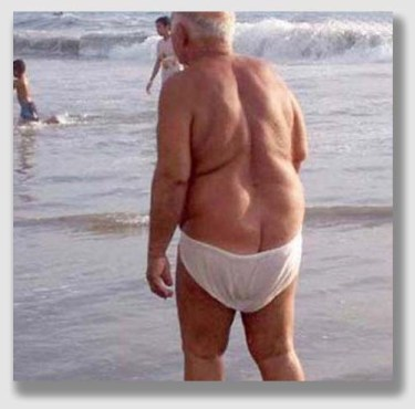 Oldsters with droopy pants - not pleasant to contemplate.