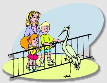 Dick, Jane and Mom have fun at the Zoo ... as long as they can dodge the falling trees.
